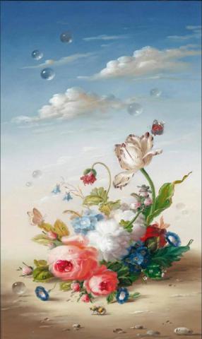 Картина Букет Хильдегард Швамбергер на дереве на левкасе №10