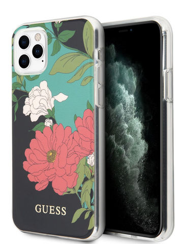 Guess / чехол для телефона iPhone 11 Pro | Flower TPU/PC Hard Shiny N.1 Black