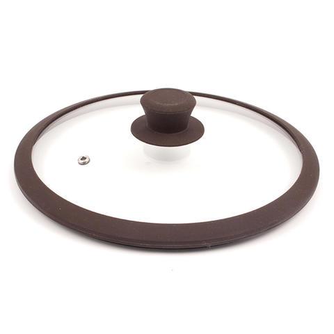 Крышка стеклянная с силиконовым ободом коричневая 200мм - TIMA