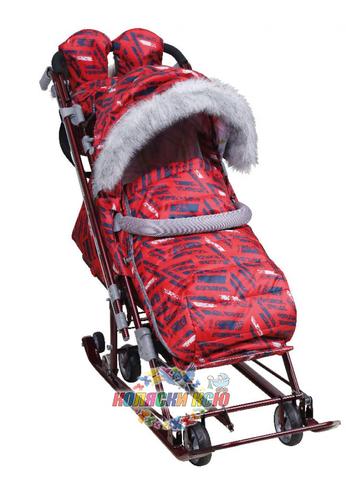 Санки-коляска «Ника Детям 7-8S» красные