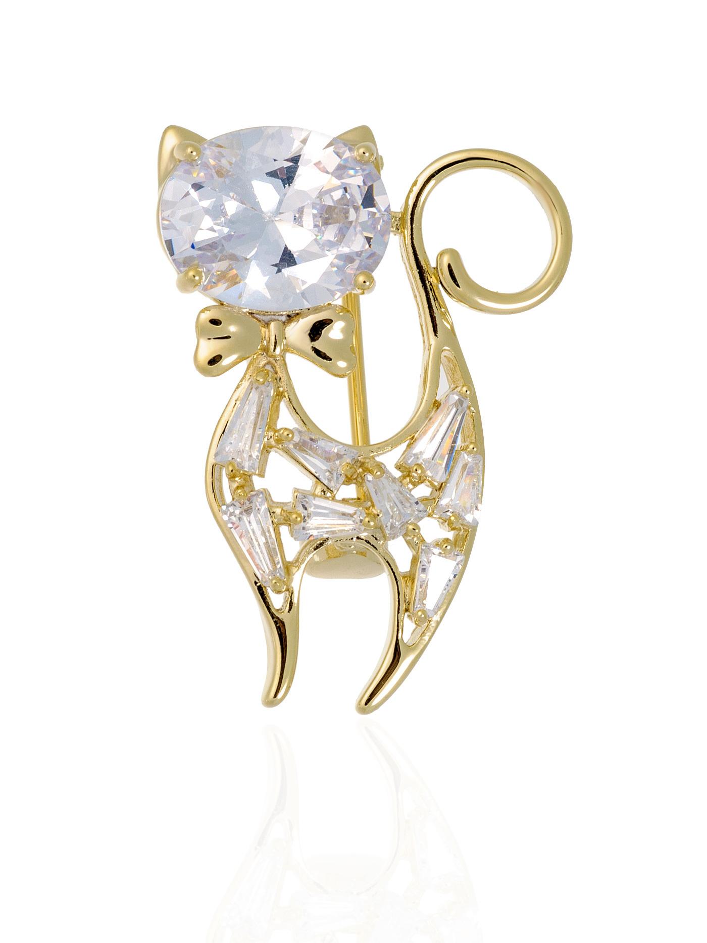 Брошь Кошка с кристаллами