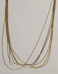Колье из серебра,7 нитей, трехцветная (серебряная цепочка).
