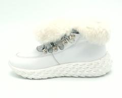 435ц Ботинки зима натуральная кожа цвет белый