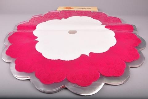 Салфетка ажурная круг d60 см цвет: малиновая