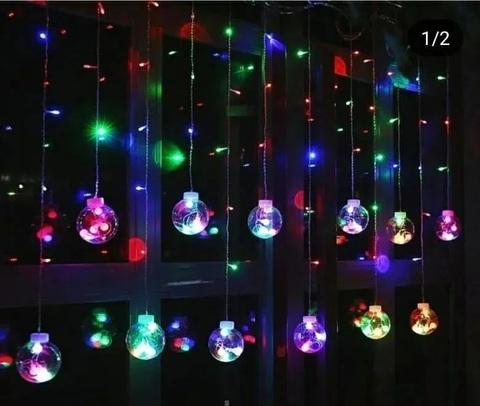Гирлянда светодиодная занавес штора Волшебные шары, мультиколор, 2.5м, 12 шаров.
