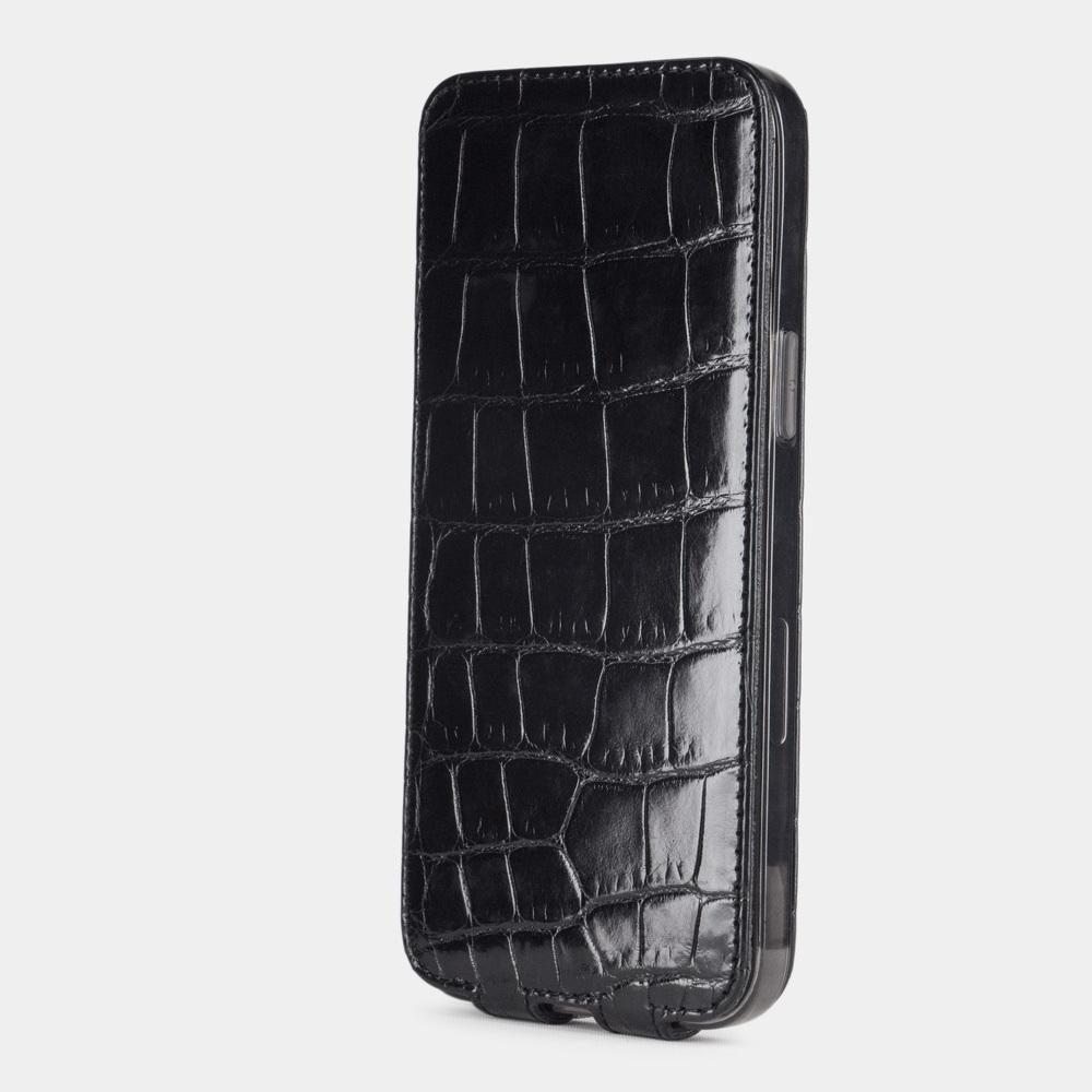 Special order: Чехол для iPhone 12 Pro Max из натуральной кожи крокодила, цвета черный лак