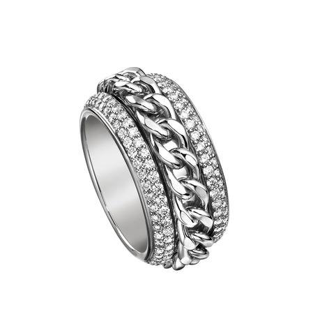 60127- Кольцо из серебра с крутящейся серединой в виде цепи