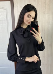 Маркіза. Красива блуза з бантом. Чорний