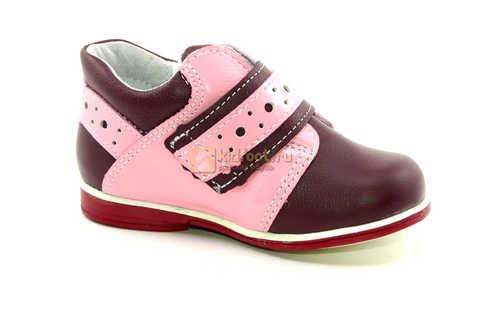Ботинки Лель для девочек кожаные, демисезонные, ортопедические, на липучках, цвет бордо. Изображение 2 из 13.