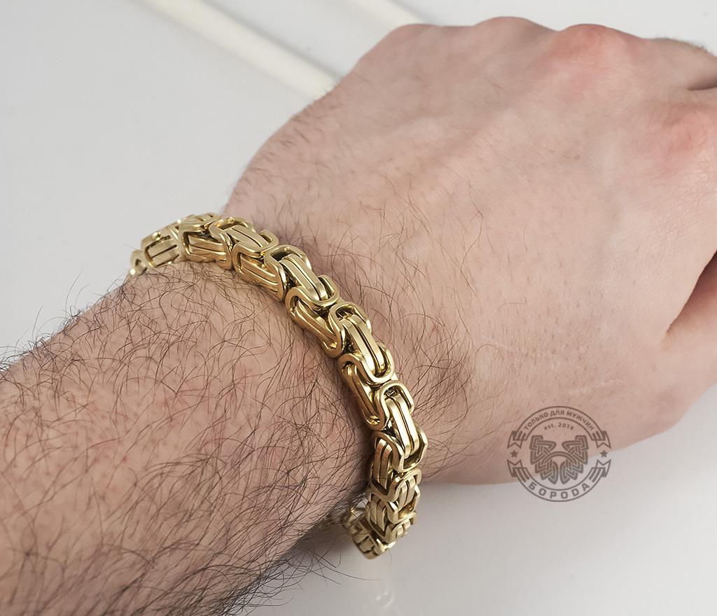 BM332 Стальной браслет золотого цвета квадратного сечения (21 см) фото 04