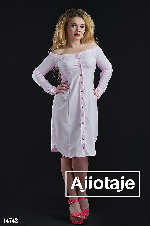 Платье рубашка бледно-розового цвета