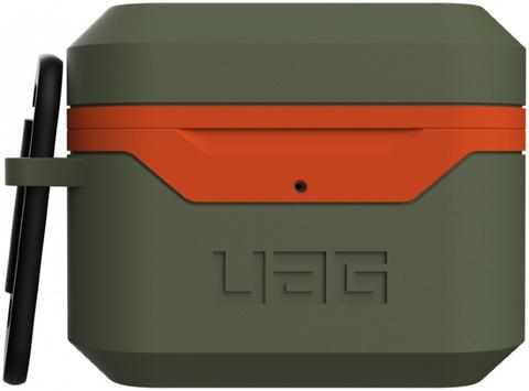 Чехол с карабином Urban Armor Gear (UAG) Standard Issue Hard Case_001 для AirPods Pro, цвет Оливковый/Оранжевый (Olive/Orange)