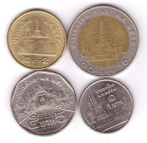 Набор из 4 разменных монет Таиланда. 1, 2, 5, 10 бат.
