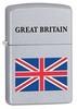 Зажигалка Zippo Union Jack, латунь с покрытием Brushed Chrome, серебристая, матовая, 36х12x56 мм