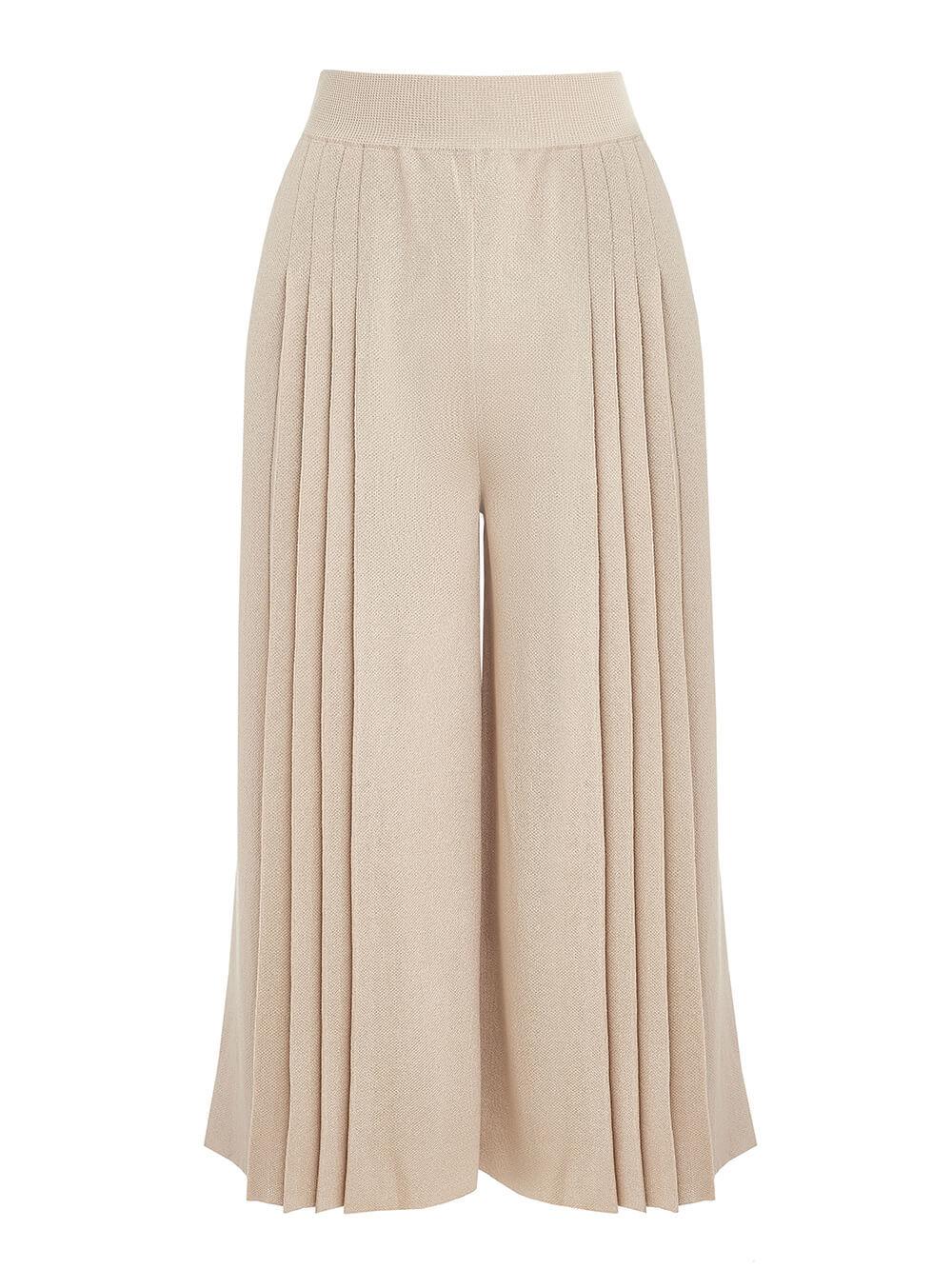Женские брюки бежевого цвета из вискозы - фото 1