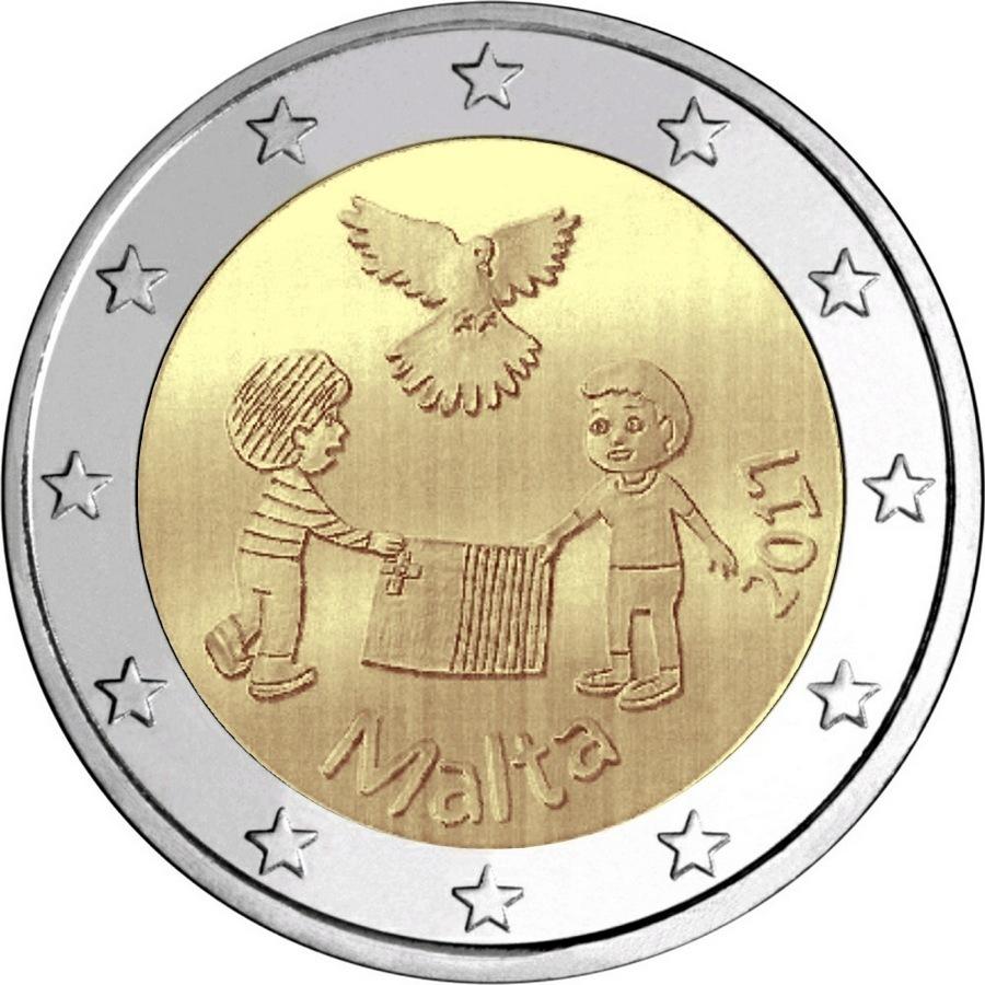 """2 евро Мальта 2017 """"Мир"""""""