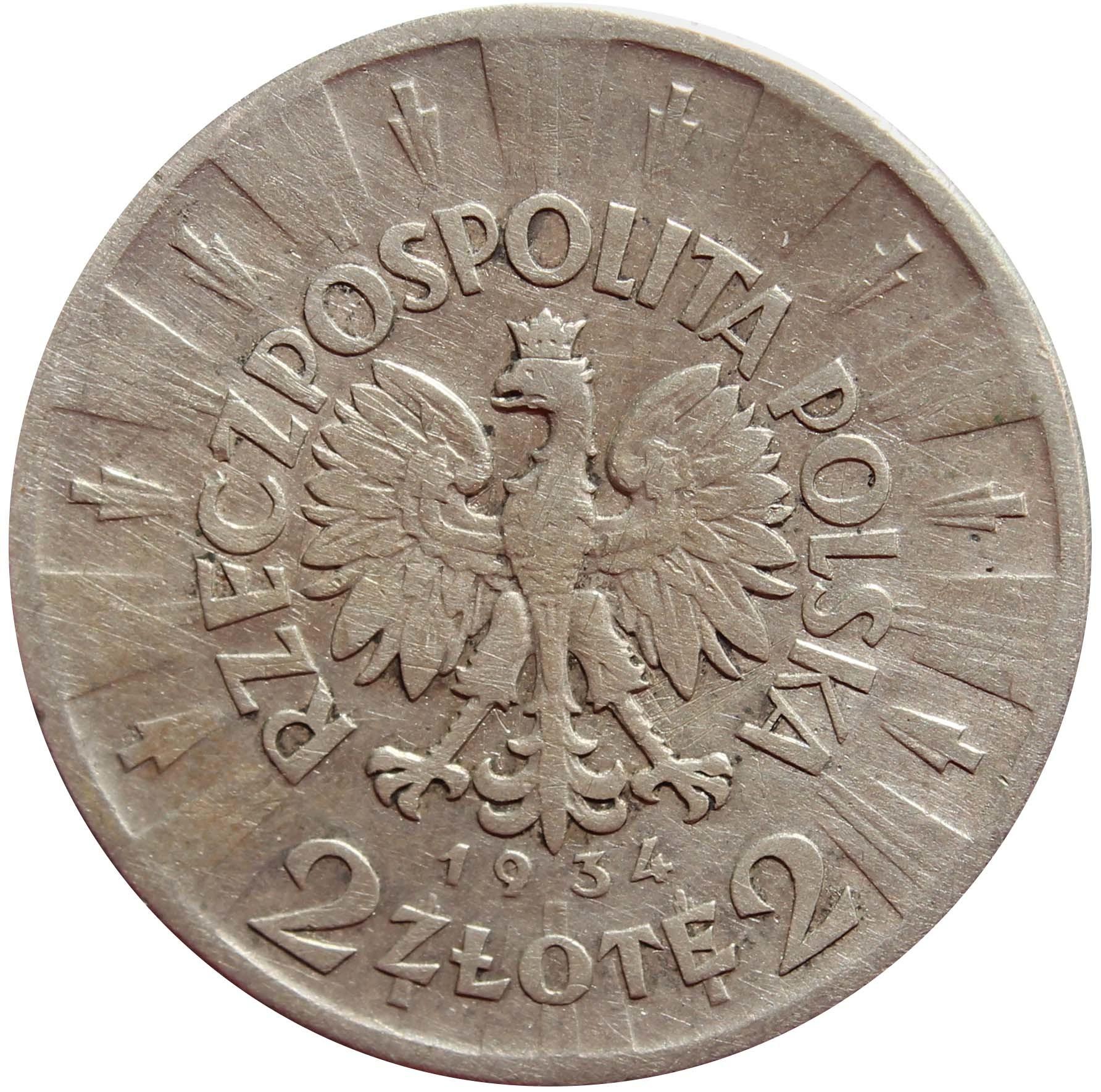 2 золотых. Юзеф Пилсудский. Польша. 1934 г. VF