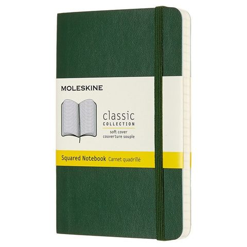 Блокнот Moleskine CLASSIC SOFT QP612K15 Pocket 90x140мм 192стр. клетка мягкая обложка зеленый