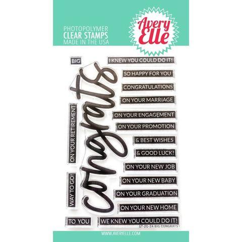 Штампы  Avery Elle Clear Stamp Set - 10х15 см- Big Congrats