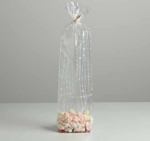 Пакет с жёстким дном «Сердечки». 7 х 11 х 40 см