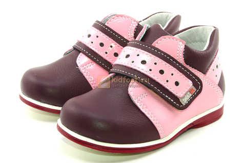 Ботинки Лель для девочек кожаные, демисезонные, ортопедические, на липучках, цвет бордо. Изображение 6 из 13.