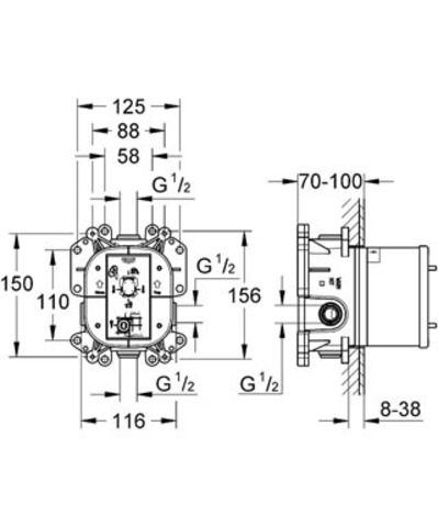 Встроенный универсальный смеситель Grohe Rapido E 35501000 схема