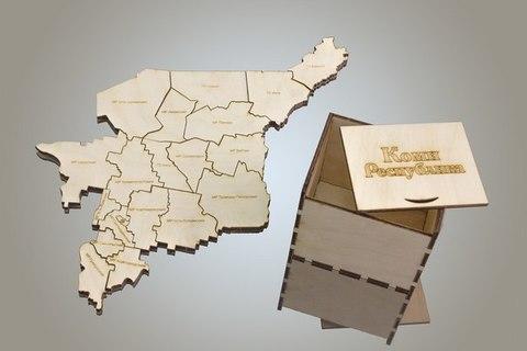Пазл карта ДекорКоми Республики Коми из дерева, в коробке