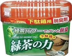 Дезодорант-поглотитель запахов, KOKUBO, для обувных шкафов, зелёный чай, 150 г