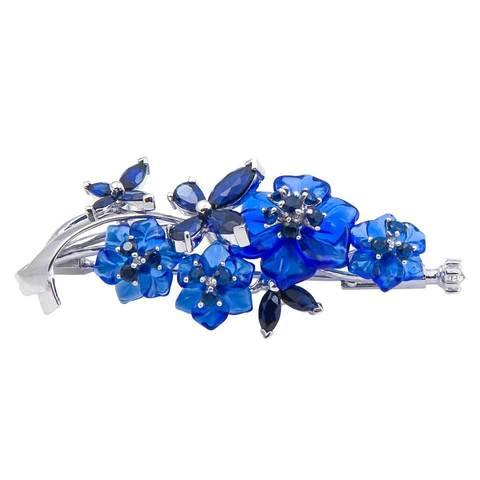 Брошь с цветами из синего кварца и сапфиром Арт.8002сс