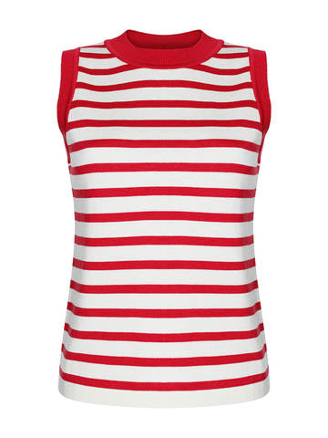 Женский свитер без рукавов в красно-молочную полоску из шелка и кашемира - фото 1