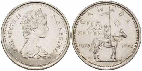 25 центов 100 лет конной полиции Канады UNC 1973 год
