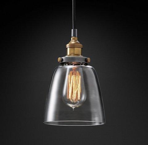 Подвесной светильник копия 20th C. Factory Filament Clear Glass Cloche Pendant by Restoration Hardware