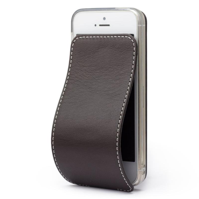 Чехол для iPhone 5S/SE из натуральной кожи теленка, темно-коричневого цвета