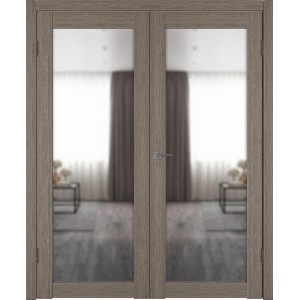Двери с зеркалом Межкомнатная распашная двустворчатая дверь экошпон VFD 32X brun oak с зеркалом с одной стороны atum-pro-x32-brun-oak-mirror.jpg