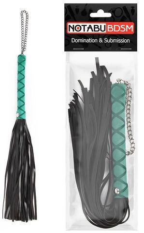 Черная многохвостая плеть-флоггер с голубой ручкой - 40 см.