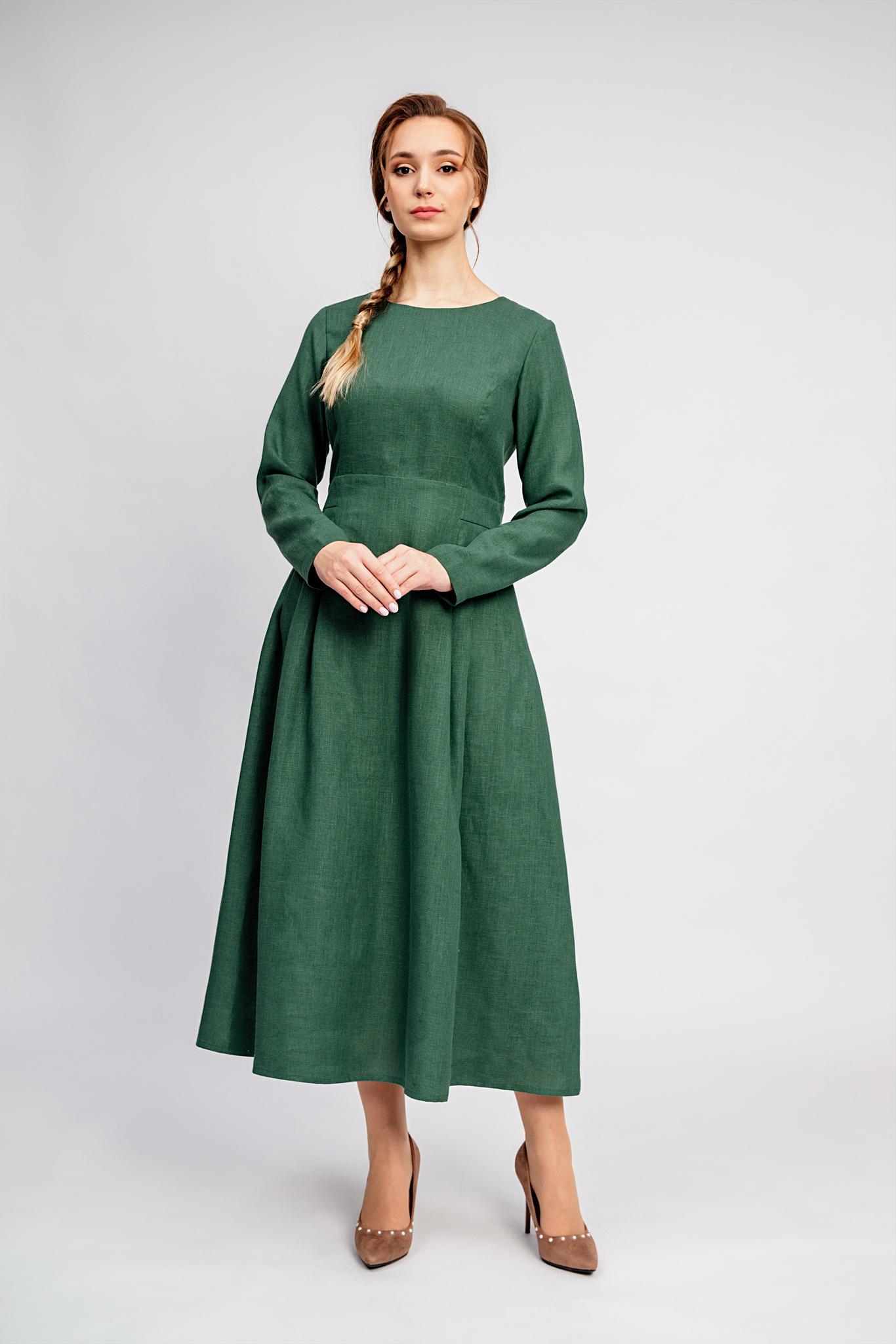 Платье льняное Молодо-зелено в русском стиле