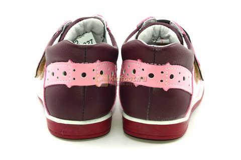 Ботинки Лель для девочек кожаные, демисезонные, ортопедические, на липучках, цвет бордо. Изображение 7 из 13.