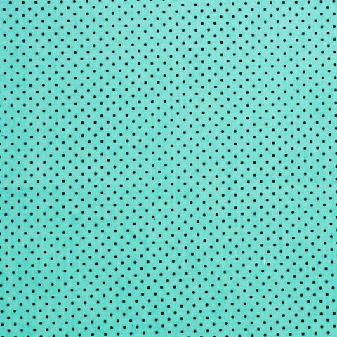 Ткань хлопковая черные точки на бирюзовом