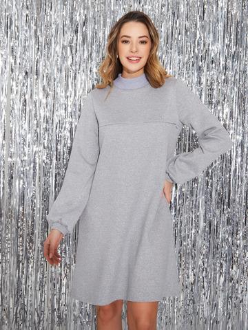 Платье с объемным рукавом Серебро