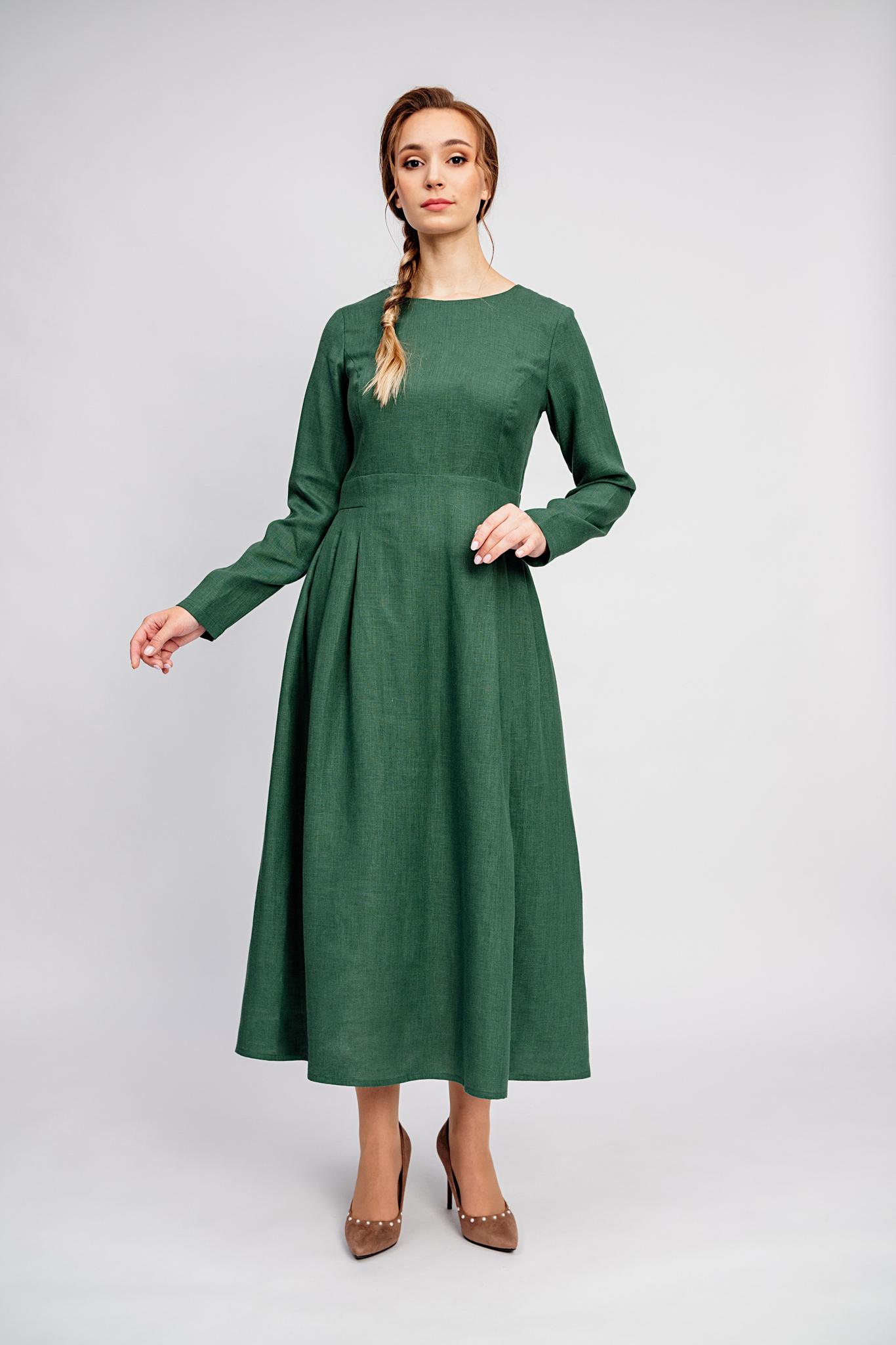 Нарядное платье славянское Молодо-зелено