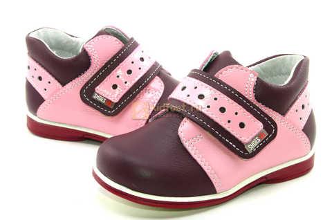 Ботинки Лель для девочек кожаные, демисезонные, ортопедические, на липучках, цвет бордо. Изображение 8 из 13.