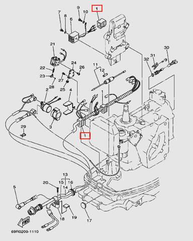 Фиксатор жгута проводов для лодочного мотора Т30 Sea-PRO (9-1W)