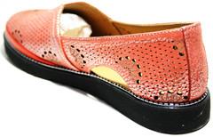 Летние кожаные туфли слипоны женские Savino.
