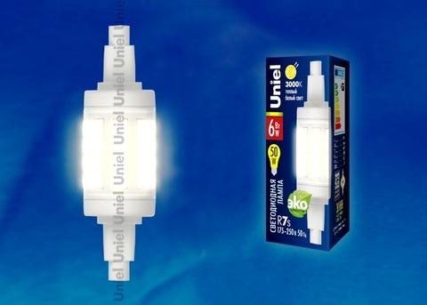 Uniel Лампа LED-J78-6W/WW/R7s/CL (теплый свет)