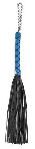 Черная многохвостая плеть-флоггер с синей ручкой - 40 см.