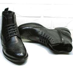 Кожаные зимние мужские ботинки инспектор LucianoBelliniBC3801L-Black .