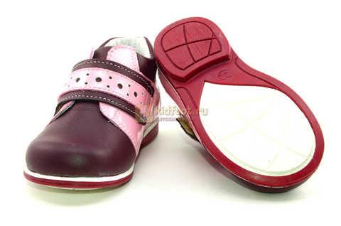 Ботинки Лель для девочек кожаные, демисезонные, ортопедические, на липучках, цвет бордо. Изображение 9 из 13.
