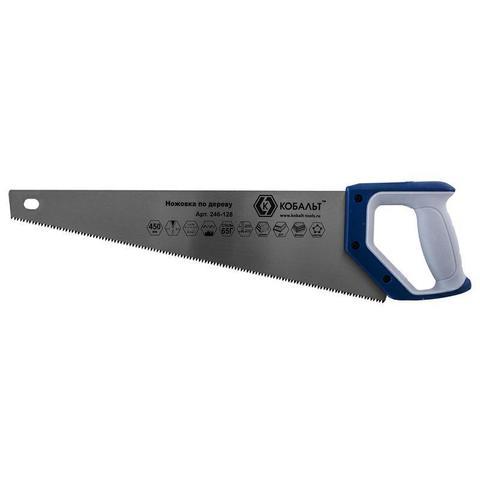 Ножовка по дереву КОБАЛЬТ 450 мм, шаг 3,5 мм/ 7 TPI, закаленный зуб, 3D-заточка, двухкомпонентная рукоятка, чистый рез