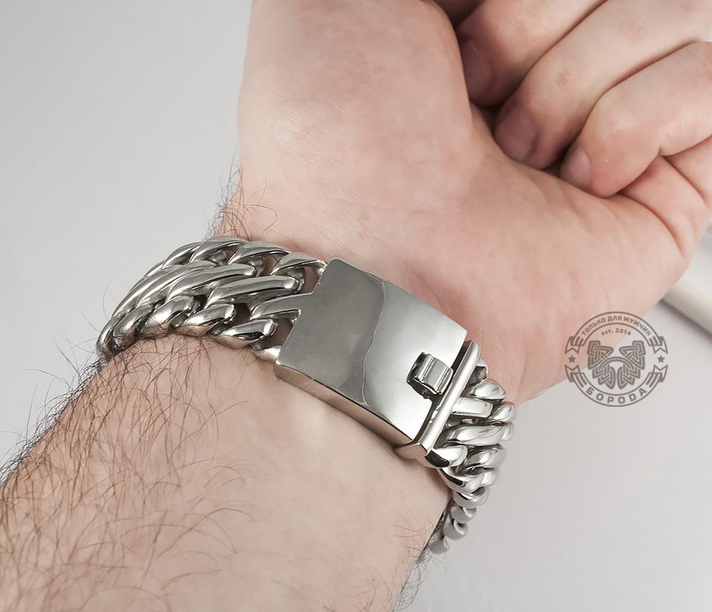 BM335 Очень тяжелый браслет - цепь из ювелирной стали на удобной застежке (23 см) фото 06