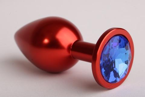 Анальная пробка красная с синим кристаллом  47108-MM